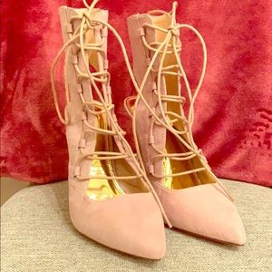 Shoes - NWOT Nude Laced heels
